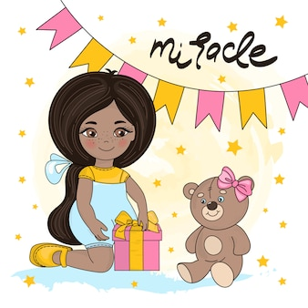 Girl miracle valentine's day illustration