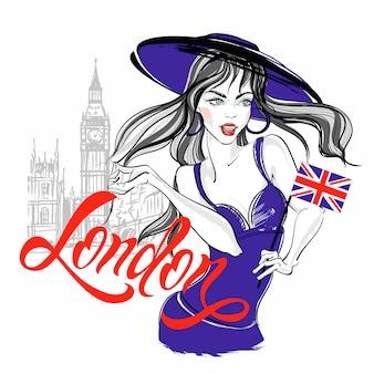 ロンドンのビッグベンに帽子の少女モデル。