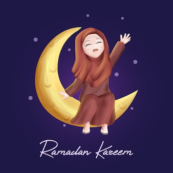 Girl on the moon in ramadan kareem