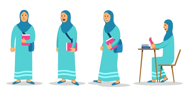 Girl moslem college student flat character set