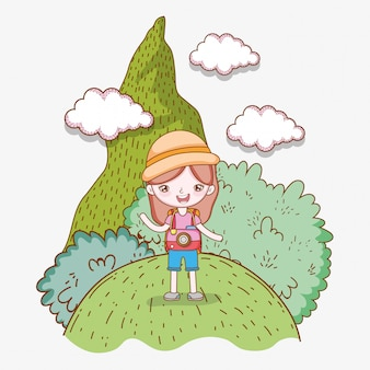 Girl in the mountain with trees and clouds adventure