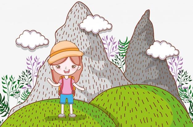 Girl in the mountains with clouds and plants adventure
