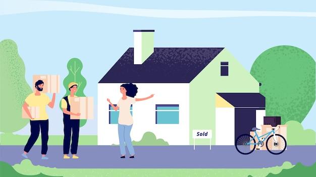 Девушка переезжает в новый дом. женщина передвигается с грузчиками, собирает припасы в ящики. квартира молодая девушка купила дом
