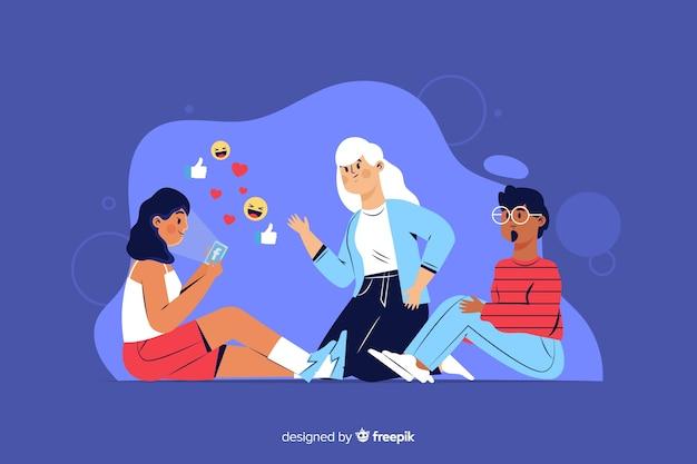 Девушка не общается со своими друзьями концепции иллюстрации