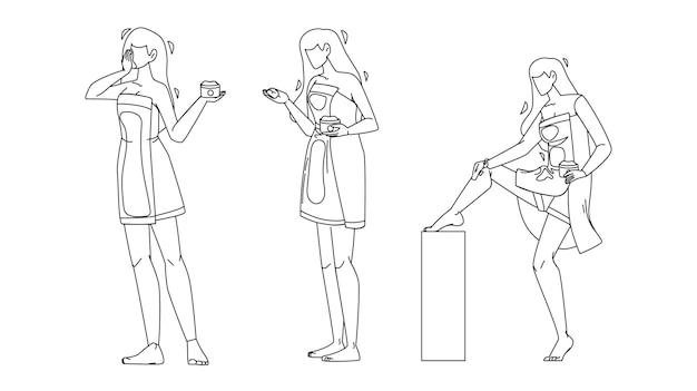 Девушка мазь пакет и массаж ног набор черная линия рисунок карандашом вектор. молодая женщина, держащая мазь, крем под рукой и тела. персонаж красота косметика лечение иллюстрация