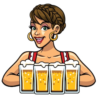 Girl of oktoberfest holf bunch of beer