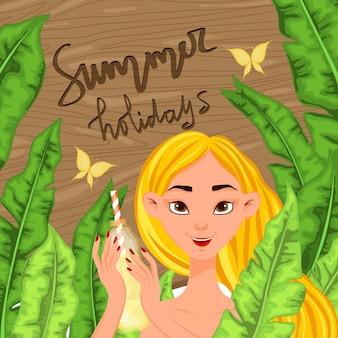 夏の風景を背景に女の子。漫画のスタイル。ベクトルイラスト。