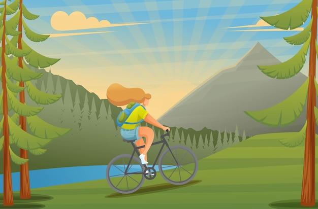숲에서 자전거를 타는 자전거에 소녀. 야외 활동