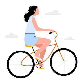 평평한 스타일의 복고풍 자전거를 탄 소녀신선한 공기 속에서 걷는 스포츠 재생 여름날scandin