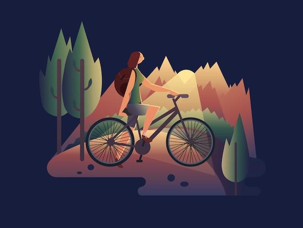 Девушка на велосипеде на закате. летняя девушка на велосипеде, женщина путешествия, образ жизни в отпуске