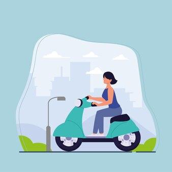 Девушка на электрическом мотоцикле на улице
