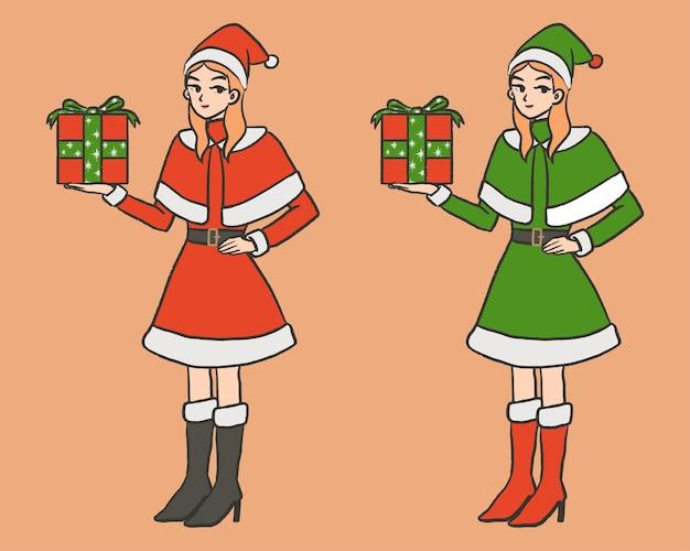 クリスマスの日の漫画の手描きのサンタクロースとエルフの衣装の女の子