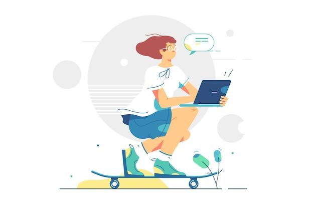 노트북 일러스트와 함께 스케이트 보드에 소녀입니다. 십대는 스케이트 플랫 스타일로 거리를 타는 동안 장치에서 작동합니다. 야외 스포츠 활동 및 기술.