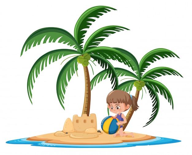 Девушка на тропическом острове, здание песка замок мультипликационный персонаж на белом фоне