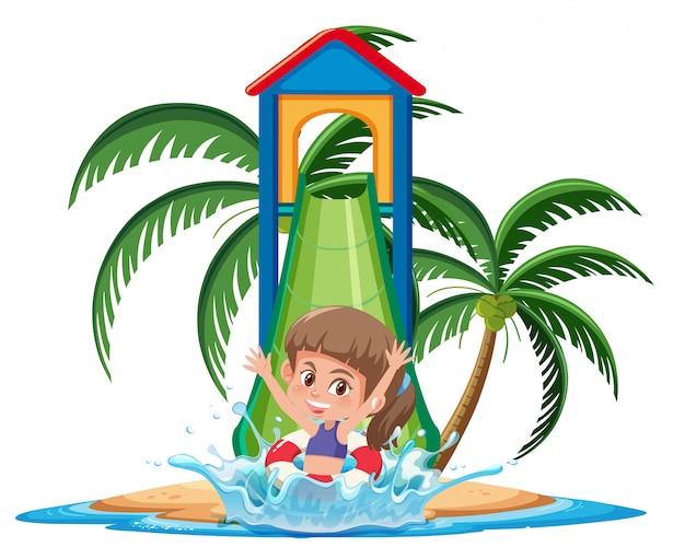 白い背景の上のスライドの文字を楽しんでいる熱帯の島の女の子