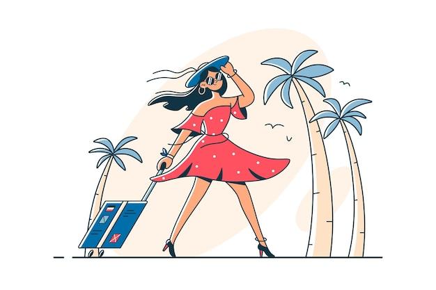 Девушка в отпуске с багажом