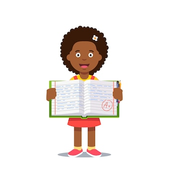Girl and open work book with a grade