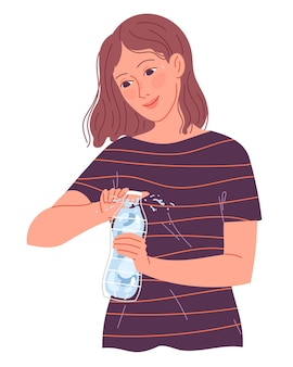 Girl opens a bottle of water to drink in the heat.
