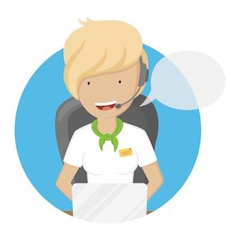 Girl operator of call center illustration