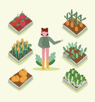 소녀 유기농 원예 및 농업