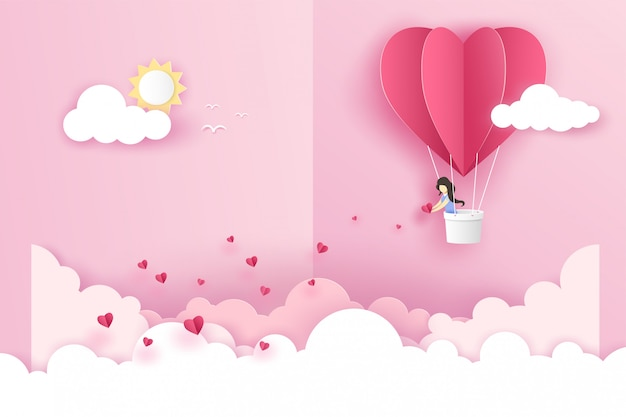 A girl on origami pink balloon heart flying with many mini hearts on the sky over the cloud in valentine's day.