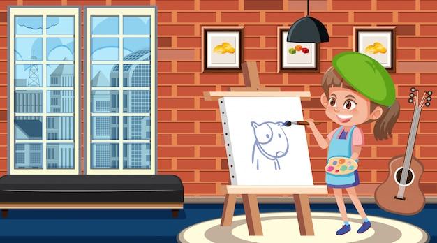 Девушка рисует на холсте в комнате