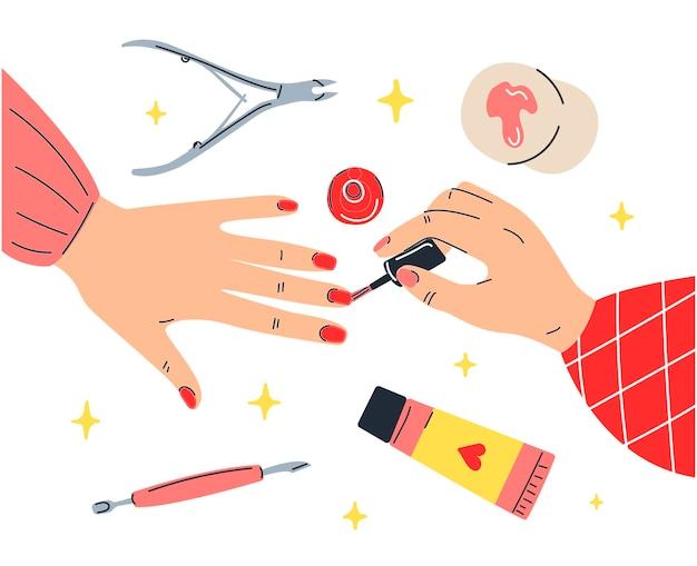 女の子は彼女の爪をペイントします。マニキュアスタジオ。漫画風のイラスト。