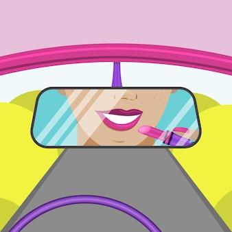 백미러에서 운전하는 동안 소녀는 입술을 그립니다. 평면 벡터 일러스트 레이 션.