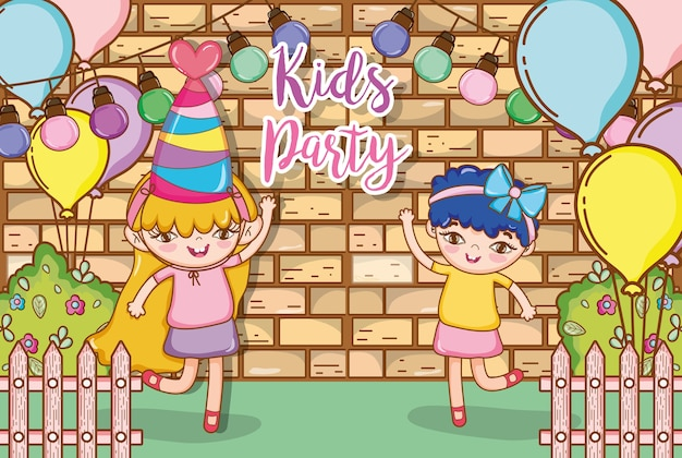 Girl on party cartoons
