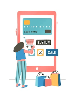 신용 카드 평면 일러스트로 지불하는 소녀. 쇼핑 상품 온라인 주문 만화 캐릭터 모바일 쇼핑 앱