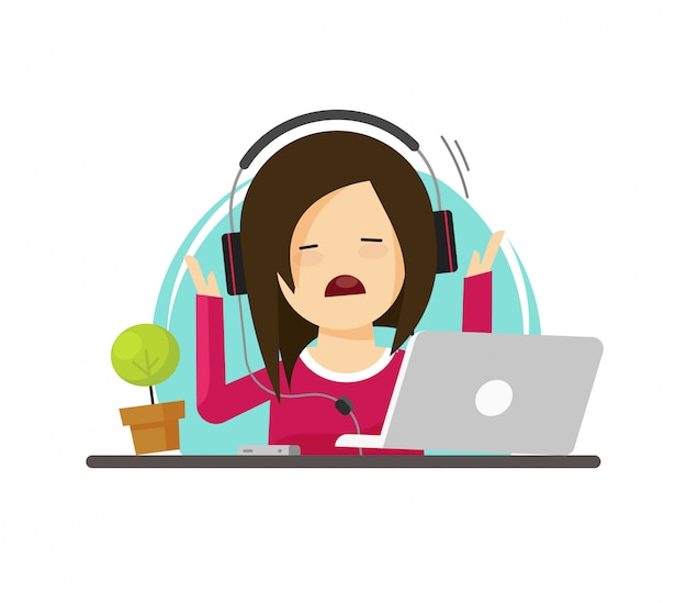 Girl person in stress or disgusted while working on laptop computer vector illustration in flat cartoon style