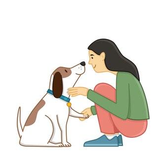 犬をかわいがる女の子