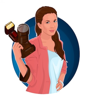 Girl photographer with camera