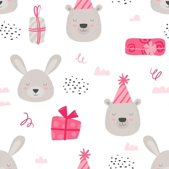 Girl pink colored woodland paper or fabric design with scandinavian teddy animals. seamless pattern, baby background with cute bear and rabbit in birthday hats and gifts. cartoon vector illustration