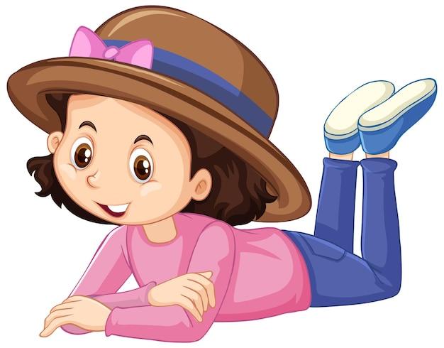 Ragazza in camicia rosa sorridente su sfondo bianco