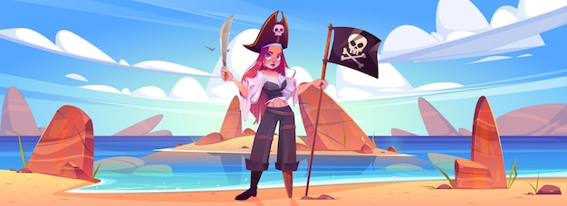 Girl pirate on beach with jolly roger flag and sword