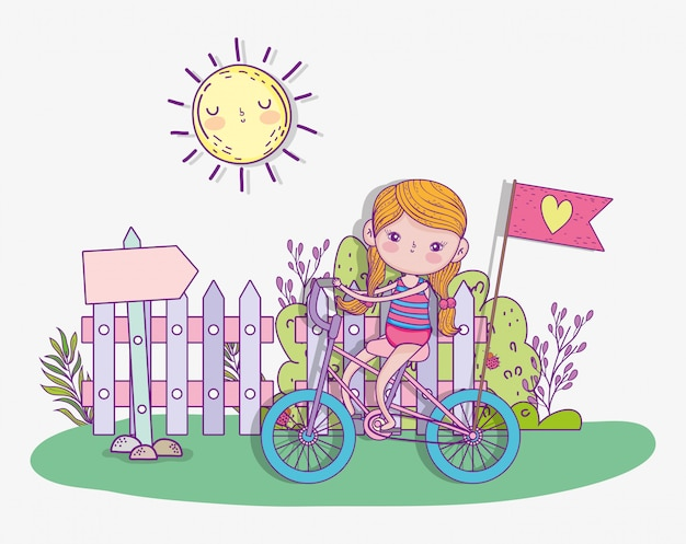 Girl play and ride bicycle with sun