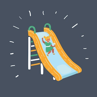 Girl play a slider