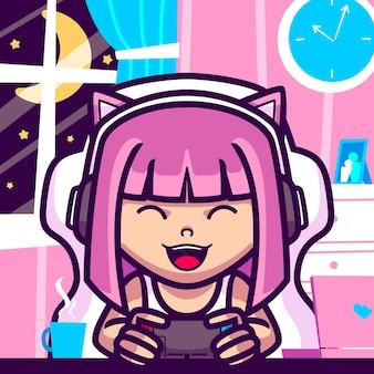 Girl play videogames cartoon illustration