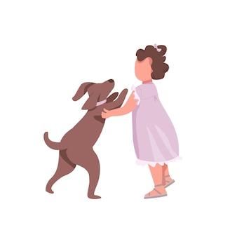 개 평면 색상 익명의 문자로 소녀 놀이. 작은 아이는 귀여운 강아지를 안고 싶어합니다. 강아지를 안아주세요. 웹 그래픽 디자인 및 애니메이션에 대한 행복한 어린 시절 격리 된 만화 그림