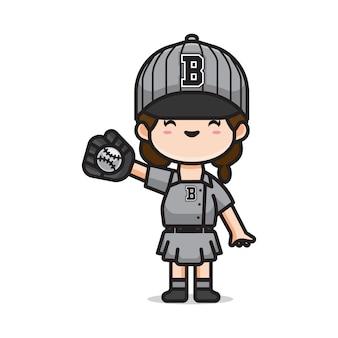 Девушка играет в бейсбол