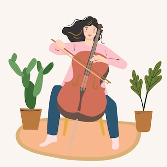 The girl playing cello. woman musician, young artist. creativity at home concept.