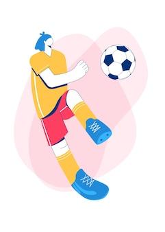 Девушка играет в футбол. модный плоский стиль. дизайн персонажа