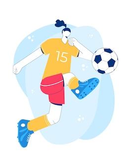 Девушка играет в футбол. модный плоский стиль. дизайн персонажа.