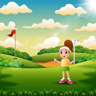 A girl playing golf in the court