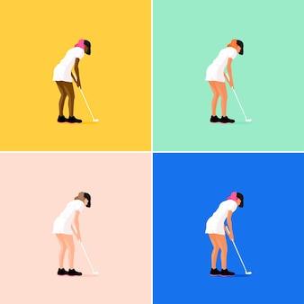 ゴルフゲームをしている女の子