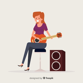 Girl playing the guitar background