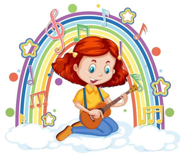 Ragazza che suona la chitarra sulla nuvola con arcobaleno