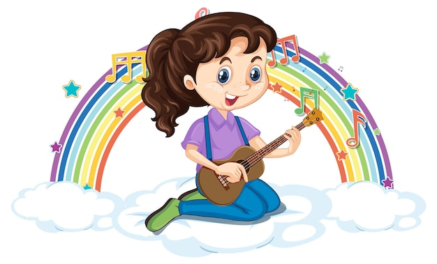 Girl playing guitar on the cloud with rainbow