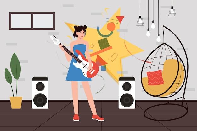 Девушка играет на гитаре музыкальный талант подросток артист гитарист с музыкальным инструментом стоя